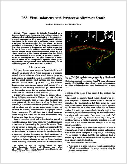 APRIL Laboratory APRIL Papers : Autonomy * Perception * Robotics